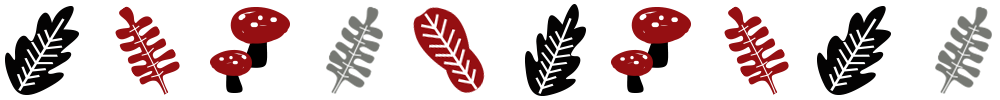 A decorate divider of red, black and white leaves.